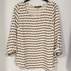 Brixon Ivy black/white 3/4 sleeve blouse size m